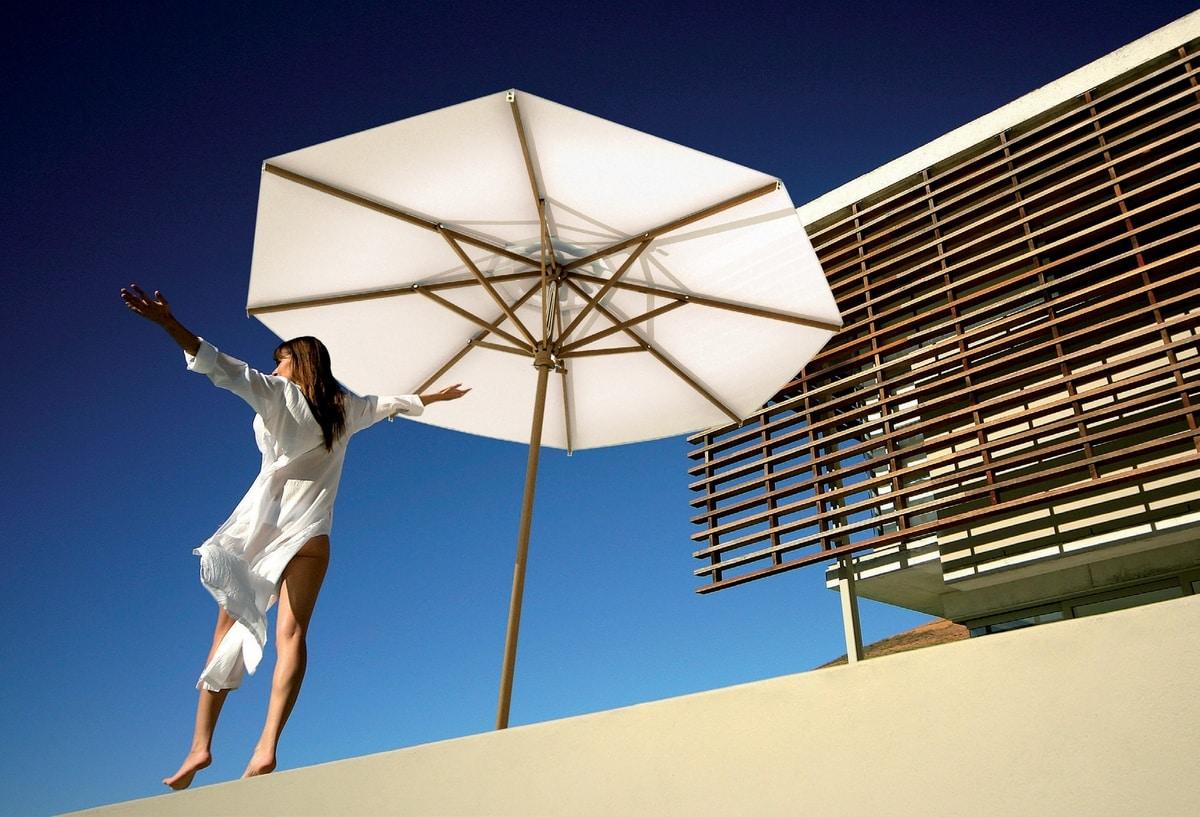 Palladio standard, Sonnenschirm mit Holzstruktur, für Gärten