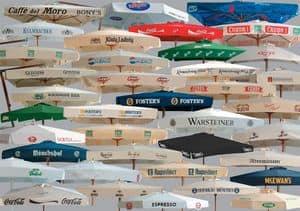 Parasols for brands advertising, Werbung Sonnenschirme aus Holz und Aluminium