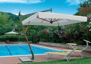 Torino arm, Sonnenschirm mit Wind-Stopp-System, Holzkonstruktion