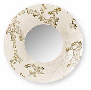 Africa Flowing round, Runder Spiegel mit dekoriertem Rahmen