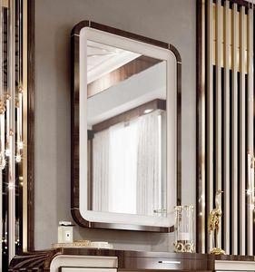 ART. 3375, Spiegel mit Eukalyptusrahmen und Lederdetails
