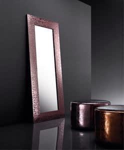 ART. 802 BEAUTY MIRROR, Spiegel mit Rahmen aus recyceltem Leder, verschiedene Farben