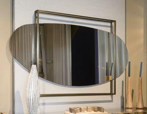 ATENA Spiegel GEA Collection, Abgerundeter Spiegel mit quadratischem Rahmen aus Messing