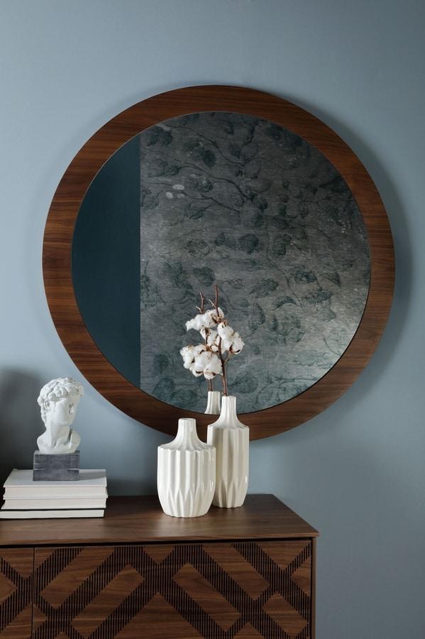 Runder Spiegel Mit Holzrahmen Idfdesign