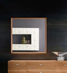 Diamante Art. 38.758, Spiegel in Nussbaum, quadratisch, für zeitgemäßes Wohnzimmer
