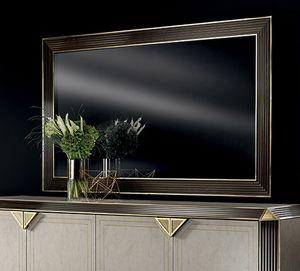 DIAMANTE großer Spiegel, Großer Spiegel mit Holzrahmen