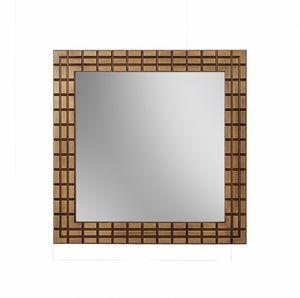 Gold Spiegel, Quadratischer Spiegel mit Bronze-Finish-Rahmen