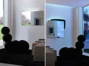 k198 visual bw, Spiegel mit Rückseite mit LED-Beleuchtung