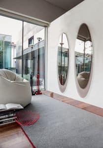 OLMI, Elliptische dekorative Spiegel, Rahmen silkscreened, Wohnzimmer