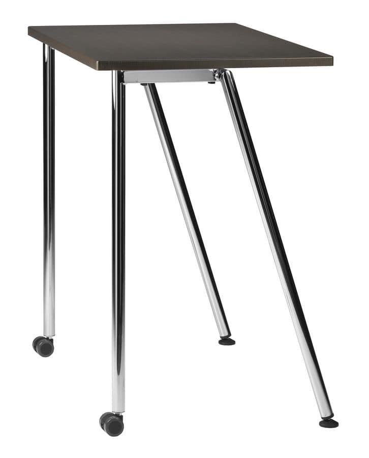 einfachen rechteckigen kleinen tisch mit metallsockel. Black Bedroom Furniture Sets. Home Design Ideas