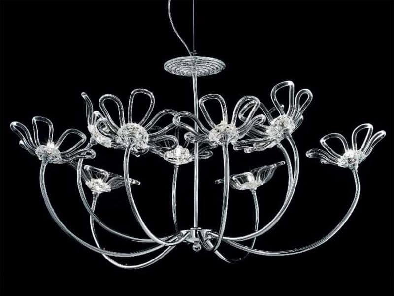 Kronleuchter mit Rahmen aus verchromtem Metall, Glas Diffusoren ...