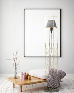 Kengo, Stehlampe mit Struktur aus goldenem Metalldraht