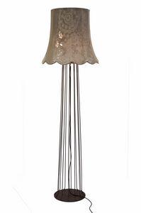 Life H6051V, Stehleuchte mit Vintage Stoff Lampenschirm