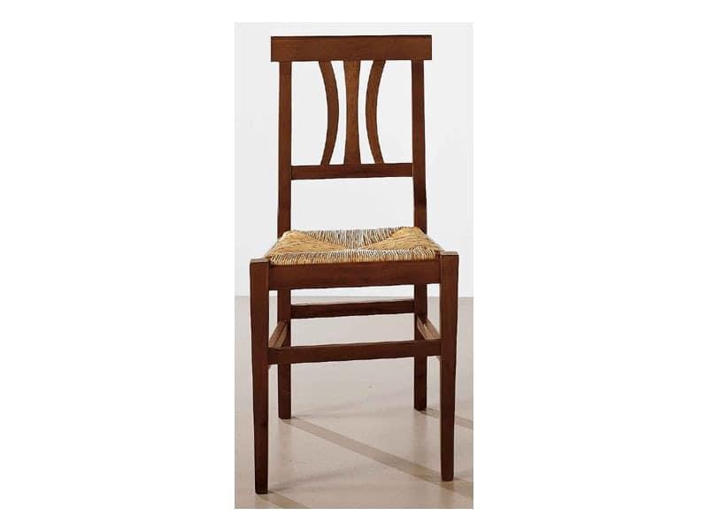 112, Esszimmerstuhl aus Massivholz, Stroh Sitz