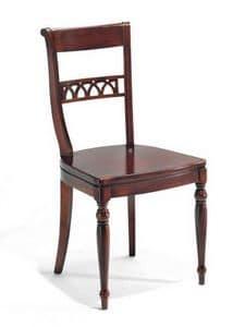 Carlotta, Stuhl komplett aus Holz, verziert in der Art gemacht