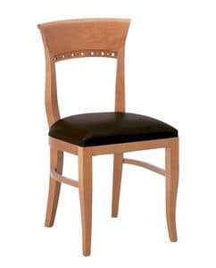 Atene S, Holzstuhl mit gepolstertem Sitz mit klassischen Linien