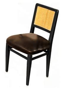 Liliane BR.0201, Stuhl aus Walnussholz, Ledersitz