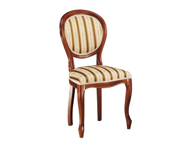 113, Lehrstuhl für Esszimmer, aus Holz mit gepolstertem Sitz