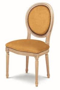 606, Gepolsterter Stuhl aus Buche, ovale Rückenlehne