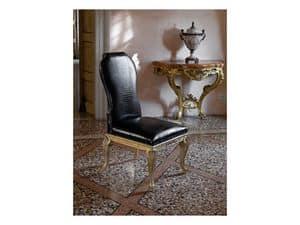 ALICE, Handgeschnitzte Stuhl, in Krokodilleder gepolstert