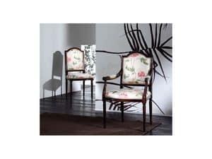 CARMEN chair 8249S, Gepolsterter Stuhl aus Holz, klassischen Stil