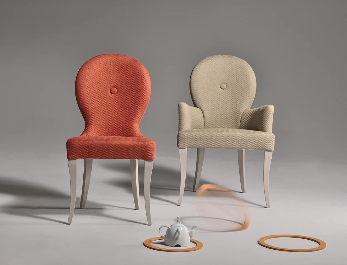 klassischer stuhl mit gebogener und gepolsterter r ckenlehne idfdesign. Black Bedroom Furniture Sets. Home Design Ideas