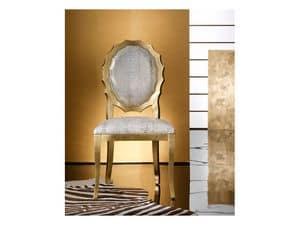 SUN chair 8282S, Gepolsterter Stuhl aus Holz, mit original geformte Rückenlehne