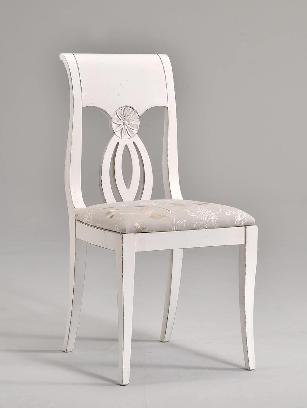 TRACY chair 8296S, Buchenstuhl mit dekoriert und geschnitzten Rückenlehne