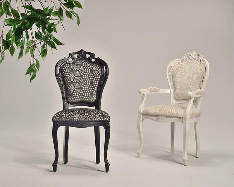 TRAFORATA chair 8262S, Klassischer Stuhl aus massiver Buche, gepolstert