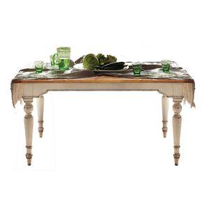 Brigitte BR.0110.A, Rechteckiger Tisch mit gedrechselten Beinen und Holzplatte