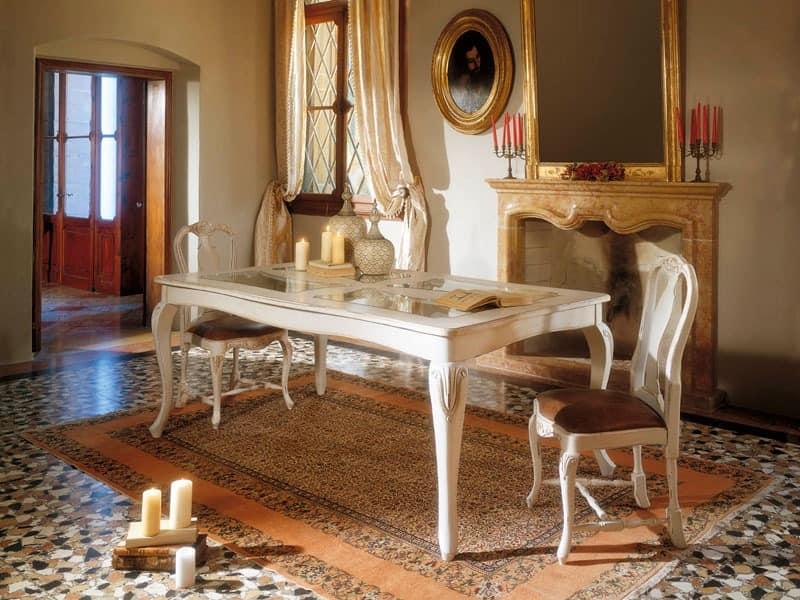 MALENE table 8124T, Gustavian Stil Tisch, Holzkonstruktion und Glasplatte