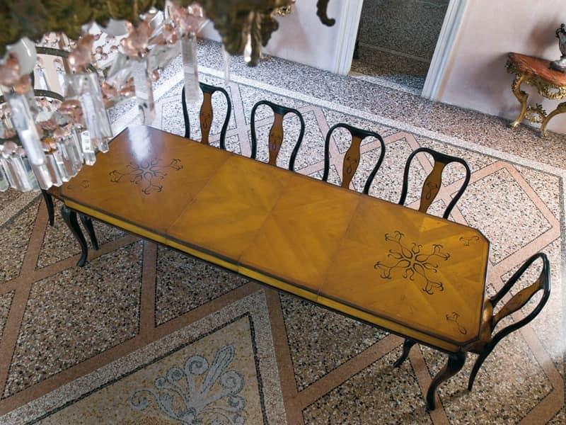 Rechteckige tisch f r esszimmer mit feinen holzeinlagen for Esszimmer tische quadratisch