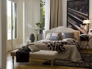 Bett in tulipier holz kopfteil in leder bezogen mit einem modernen klassischen stil idfdesign - Stencil testiera letto ...