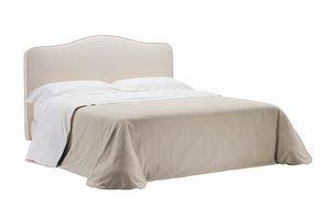 Silvana, Bett mit Holzlatten mit Stoff bedeckt