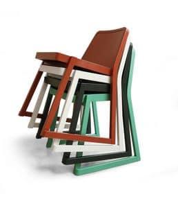 ART. 0040 ROXANNE, Elegante stapelbarer Stuhl aus Buchenholz