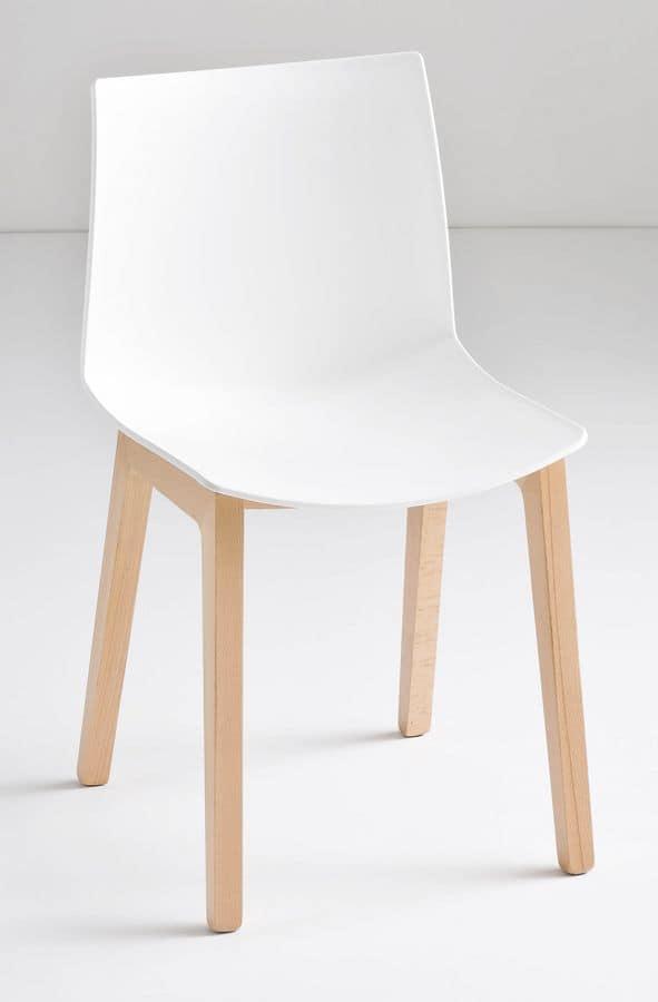 Kanvas BL, Stuhl mit Beinen aus Buche, Technopolymer Schale