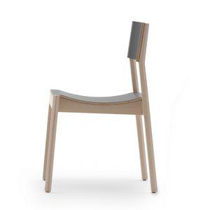 Maki 03714 - 03715, Holzstuhl mit geschwungenem Sitz