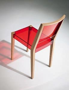 Together Stuhl, Stuhl aus Holz und transparente thermoplastische, für den Objektbereich