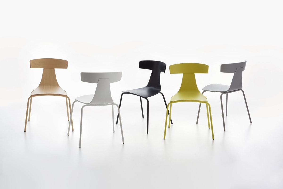 Remo mod. 1416-20, Metallstuhl, stapelbar, Sperrholz Sitz und Rückenlehne
