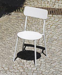 2019 S, Stuhl für Gärten, in weiß verzinktem Eisen