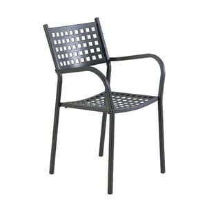 2044, Chair in verzinktem Eisen, in verschiedenen Farben, für Garten