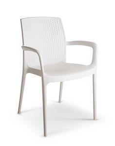2065, Stuhl aus Polypropylen mit Armlehnen für den Außenbereich