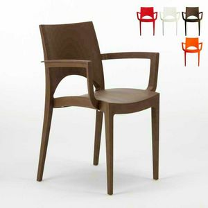 Außenstuhl stapelbar grand soleil Paris Arm – S6614, Kunststoff-Stuhl für Outdoor-Bars und Restaurants