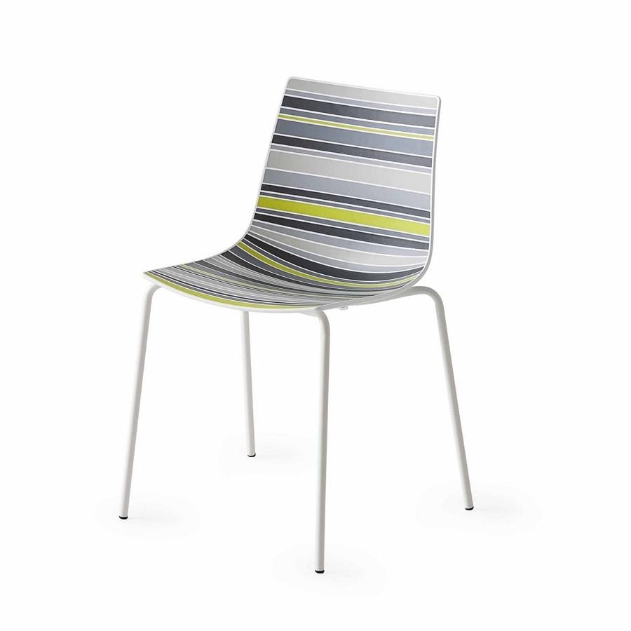 stuhl mit kunststoffschale mit ausgefallenen streifen idfdesign. Black Bedroom Furniture Sets. Home Design Ideas
