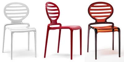 Cokka Stuhl, Moderner Stuhl aus Polycarbonat, stapelbar, auch für Garten