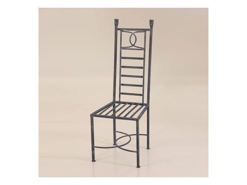 D&D, Schmiedeeisen-Stuhl für den Außenbereich, mit hoher Rückenlehne