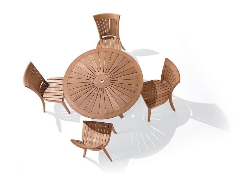Harmony Stuhl, Stuhl mit Rückenlehne mit vertikalen Lamellen, zur Außenseite