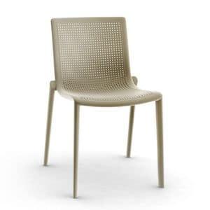 Kirama - S, Moderner Stuhl, stapelbar, beständig, im Freien, in Kunststoff