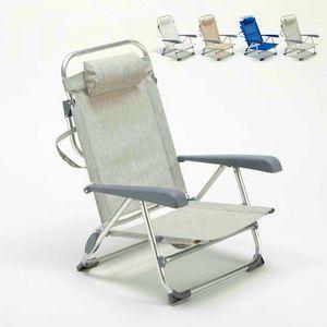 Liegestuhl mit kleinen Fußstütze Meer Aluminium klappbar spiaggina GARGANO - GA800CSC, Klappbarer Strandkorb mit Armlehnen