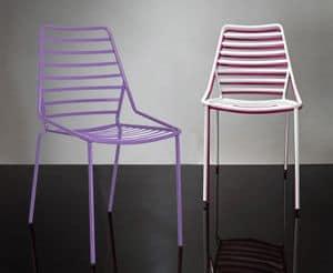 Link cod. 86, Stapelbare Stuhl aus Metall mit horizontalen Linien zeichnen